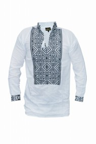 Bluza barbati tip ie brodata traditional Alb DAE6630