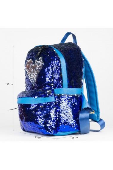 Rucsac cu paiete reversibile in culori albastru si argintiu