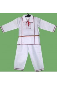 Costum National alb-rosu  bebelusi 18 luni