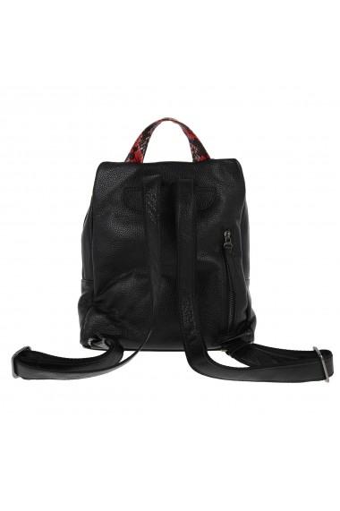 Rucsac negru cu animal print din piele naturala moale Tony Bellucci model T431