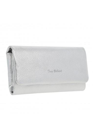 Portofel argintiu din piele naturala moale Tony Bellucci model 888