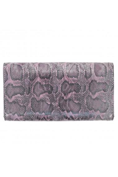Portofel din piele naturala roz cu argintiu aspect piton model 724 cu capac dublu