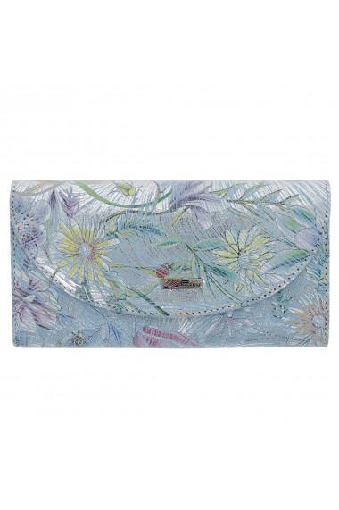 Portofel bleu ciel cu argintiu din piele naturala cu imprimeu floral model 733