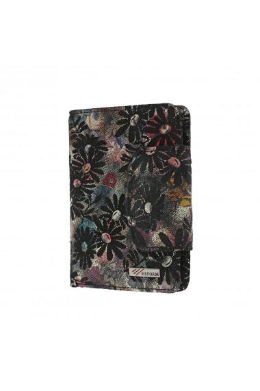 Portofel negru cu imprimeu floral din piele naturala model 086