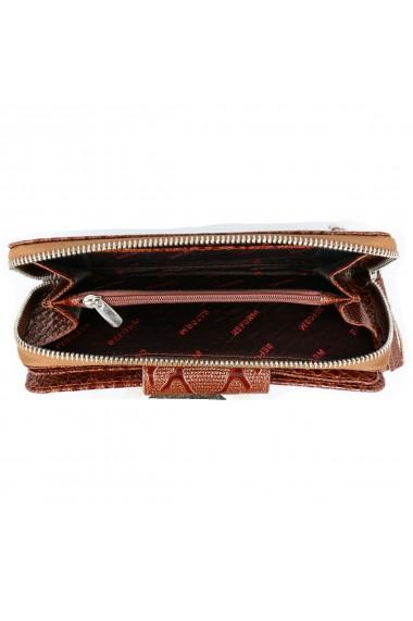 Portofel maro coniac din piele croco lac cu fermoar si clapa  model 731