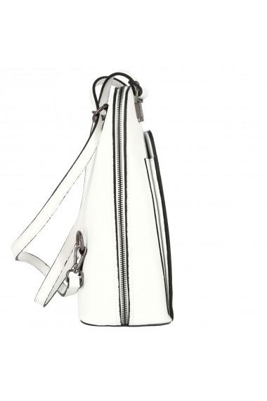 Rucsac si geanta 2 in 1 din piele naturala alba model 4115