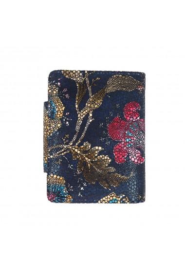 Portofel bleumarin cu imprimeu floral din piele naturala model 086