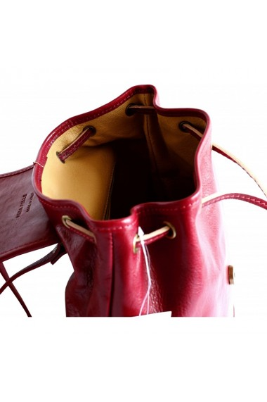 Rucsac unisex din piele rosie model R109