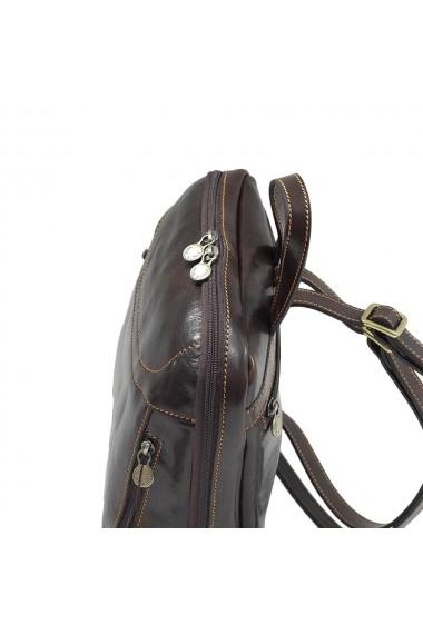 Rucsac din piele naturala vachetta maro inchis model 4430