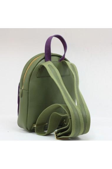 Rucsac din piele naturala verde army si buzunar aplicat mov 1232