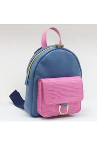 Rucsac din piele naturala albastra si buzunar aplicat roz model 1232