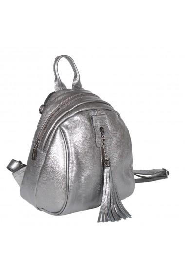 Rucsac/geanta de dama din piele naturala argintiu 175