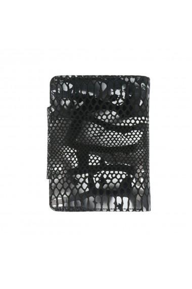 Portofel negru cu gri din piele naturala fina model 086