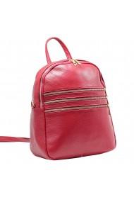 Rucsac piele rosu mac cu fermoare model 58254
