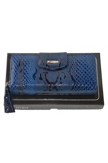Portofel piele dama cu fermoar albastru croco lac model 731
