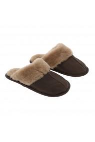 Papuci de casa din blana confortabila naturala de miel maro cu crem model pentru barbati