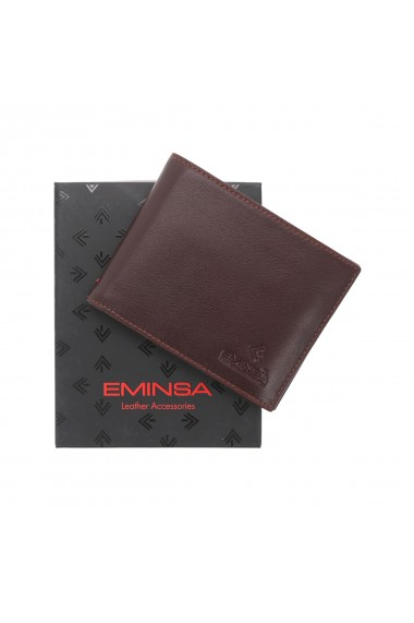 Portofel din piele fina maro coniac Eminsa pentru barbati model 1020