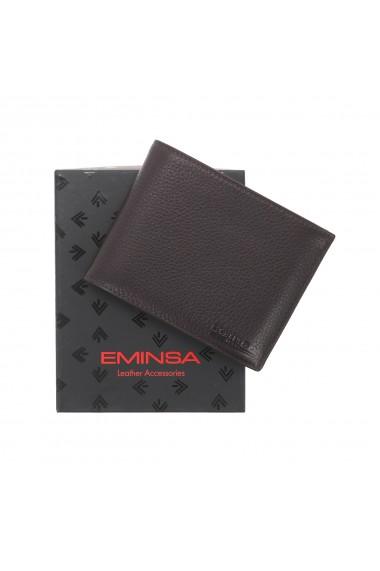 Portofel din piele moale maro Eminsa pentru barbati model 1014
