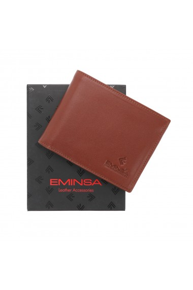 Portofel din piele fina maro coniac Eminsa pentru barbati model 1013