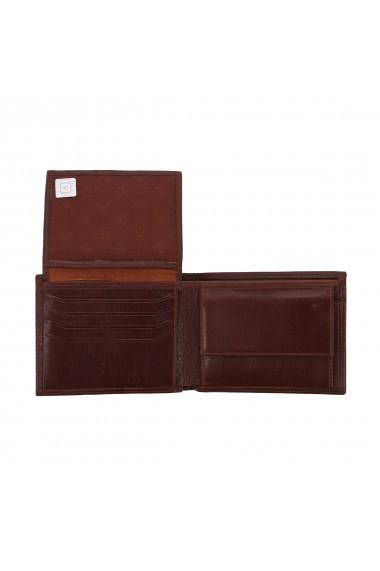 Portofel din piele fina maro coniac Eminsa pentru barbati model 1057
