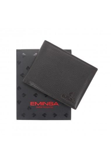 Portofel din piele moale maro inchis Eminsa pentru barbati model 1057