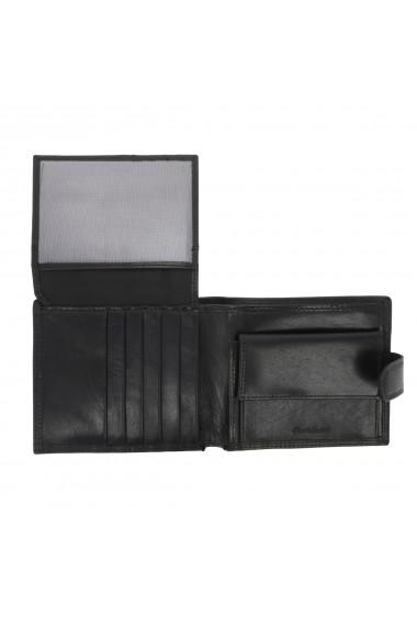 Portofel din piele neagra Valentini pentru barbati model 298