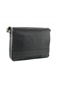 Geanta de umar unisex pentru laptop de 13 inch din piele neagra model 047