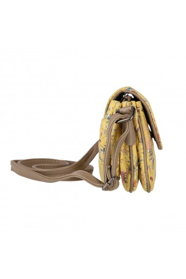 Geanta de umar cross-body galbena din piele naturala cu imprimeu floral model 2501