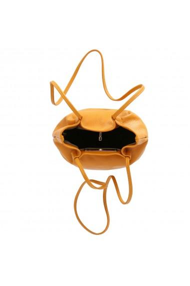 Geanta mica de umar Tony Bellucci din piele naturala galben vanilie model T51