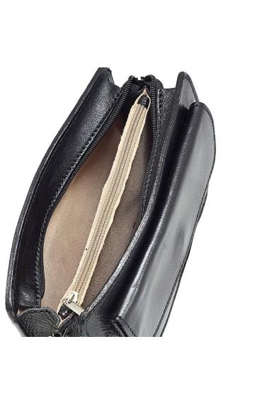 Borseta de mana cu fermoar din piele vachetta neagra S4505