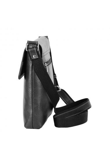 Borseta casual neagra din piele moale model cu capac 055