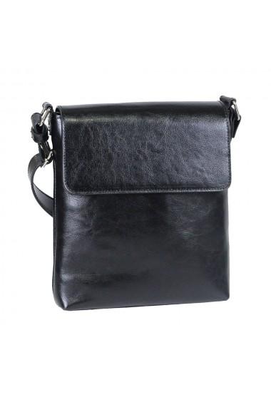 Borseta casual neagra din piele naturala model cu capac 055