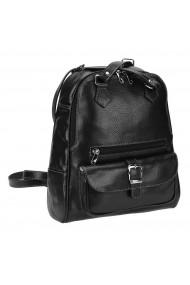 Rucsac/geanta din piele naturala neagra cu cusaturi in constrast model 194