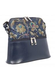 Geanta mica de dama din piele naturala bleumarin cu imprimeu floral 239