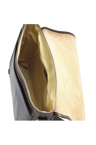 Geanta de umar din piele vachetta maro unisex S5544