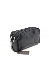 Geanta cosmetice din piele vacheta neagra pentru barbati S4401