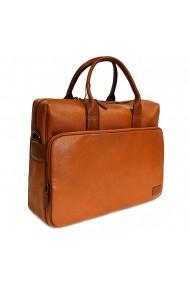 Geanta pentru laptop tableta si acte din piele maro coniac marca The Bond model 1084