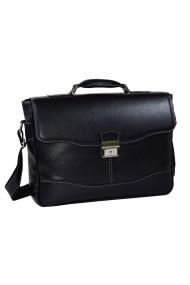 Geanta tip servieta pentru laptop de 14 inch din piele naturala model casual 41 negru