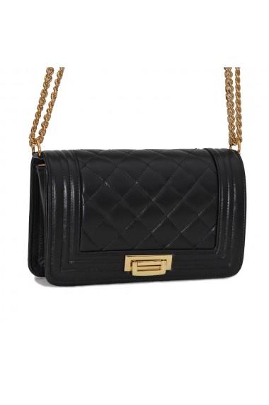 Poseta tip Chanel din piele matlasata neagra