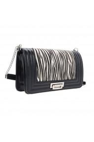 Poseta tip Chanel din piele naturala neagra si model zebra