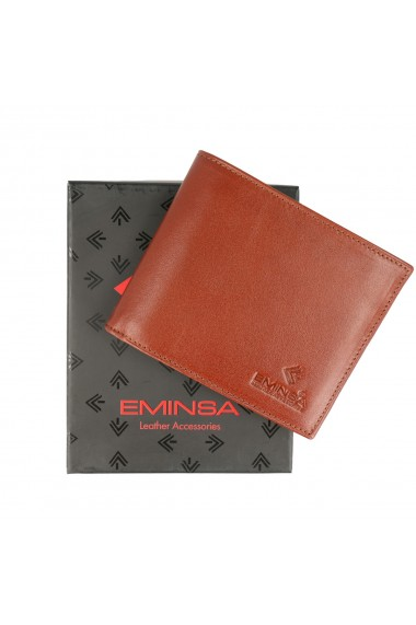 Portofel maro coniac din piele naturala marca Eminsa cod 1021