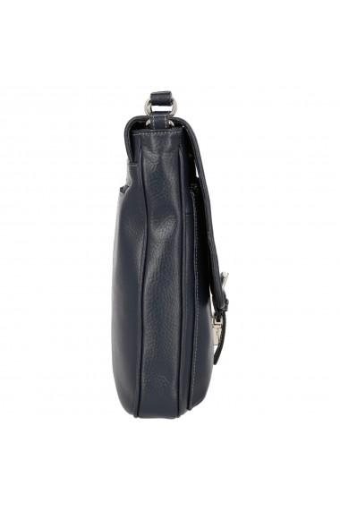 Geanta din piele moale bleumarin cu cusaturi model 048