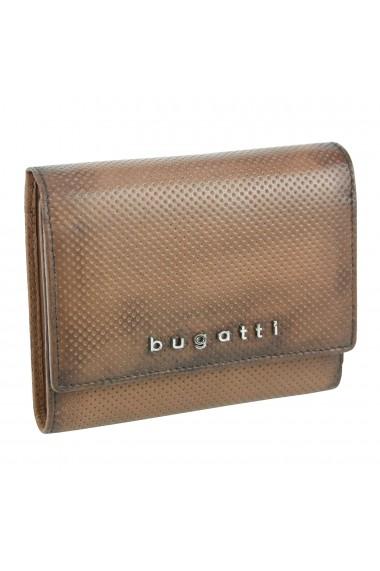 Portofel maro coniac din piele naturala cu perforatii Bugatti model Perfo