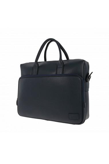 Geanta pentru laptop tableta si acte din piele bleumarin marca The Bond model 1084