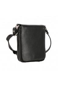 Borseta geanta din piele moale casual de barbati neagra cu capac 044