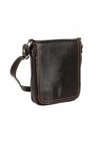 Borseta geanta din piele fina casual de barbati maro vintage cu capac 044