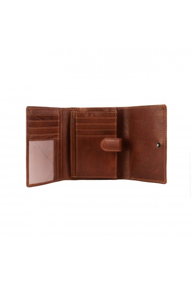 Portofel The Chesterfield Brand cu protectie anti scanare RFID din piele naturala maro coniac Avery
