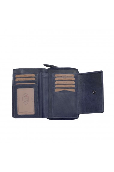 Portofel The Chesterfield Brand cu protectie anti scanare RFID din piele naturala moale bleumarin Ascot