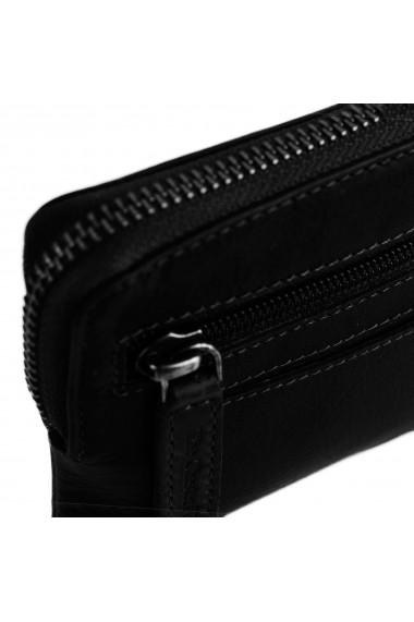 Portofel multifunctional The Chesterfield Brand cu protectie anti scanare RFID din piele naturala moale neagra Nina