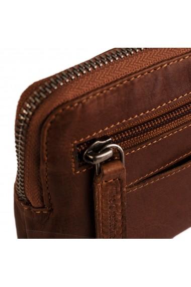 Portofel multifunctional The Chesterfield Brand cu protectie anti scanare RFID din piele naturala moale maro coniac Jane